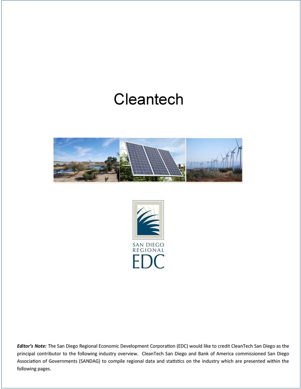 CleanTech San Diego and Bank of America commissioned San Diego Association of Governments (SANDAG)