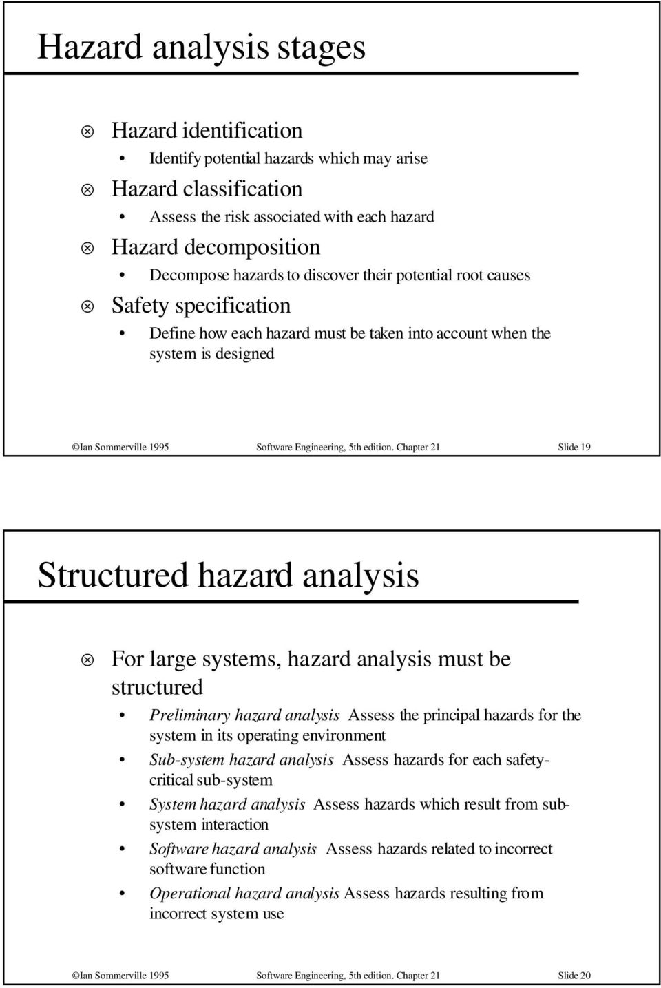 Chapter 21 Slide 19 Structured hazard analysis For large systems, hazard analysis must be structured Preliminary hazard analysis Assess the principal hazards for the system in its operating