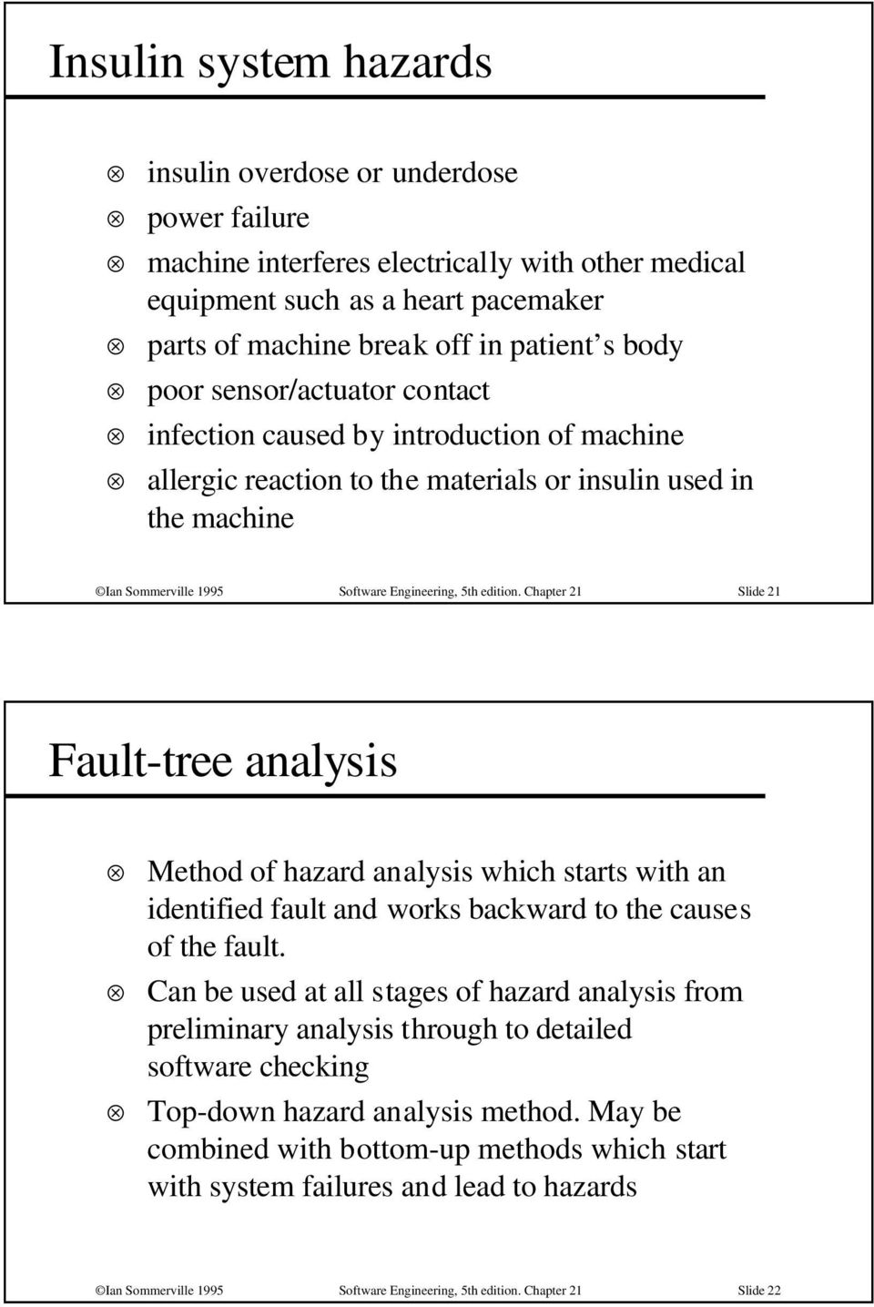 Chapter 21 Slide 21 Fault-tree analysis Method of hazard analysis which starts with an identified fault and works backward to the causes of the fault.