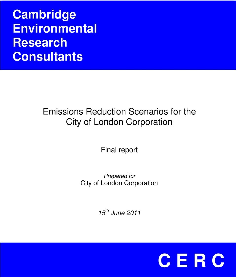 London Corporation Final report Prepared for