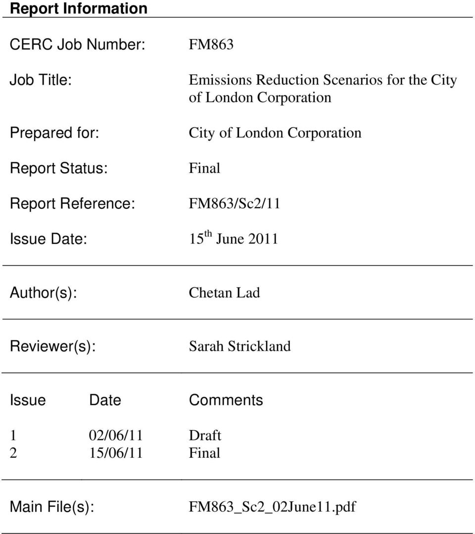 Corporation Final FM863/Sc2/11 Issue Date: 15 th June 2011 Author(s): Chetan Lad Reviewer(s):