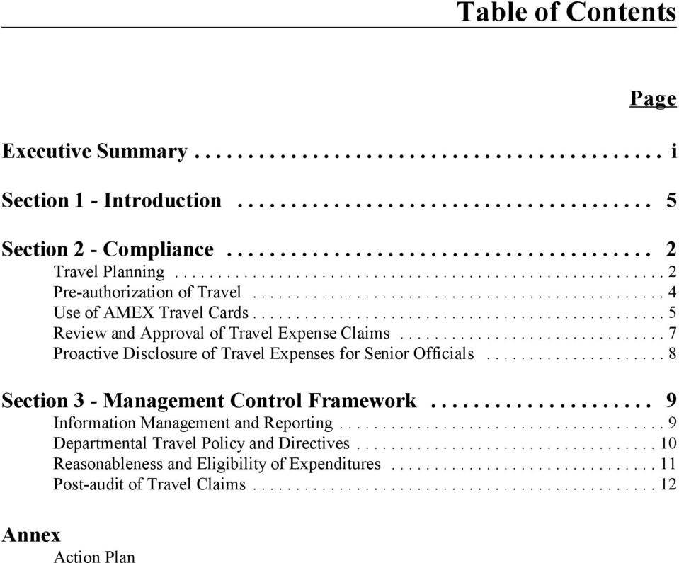 ..7 Proactive Disclosure of Travel Expenses for Senior Officials...8 Section 3 - Management Control Framework.