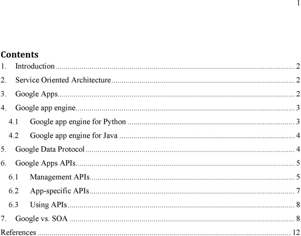 .. 4 5. Google Data Protocol... 4 6. Google Apps APIs... 5 6.1 Management APIs... 5 6.2 App-specific APIs.