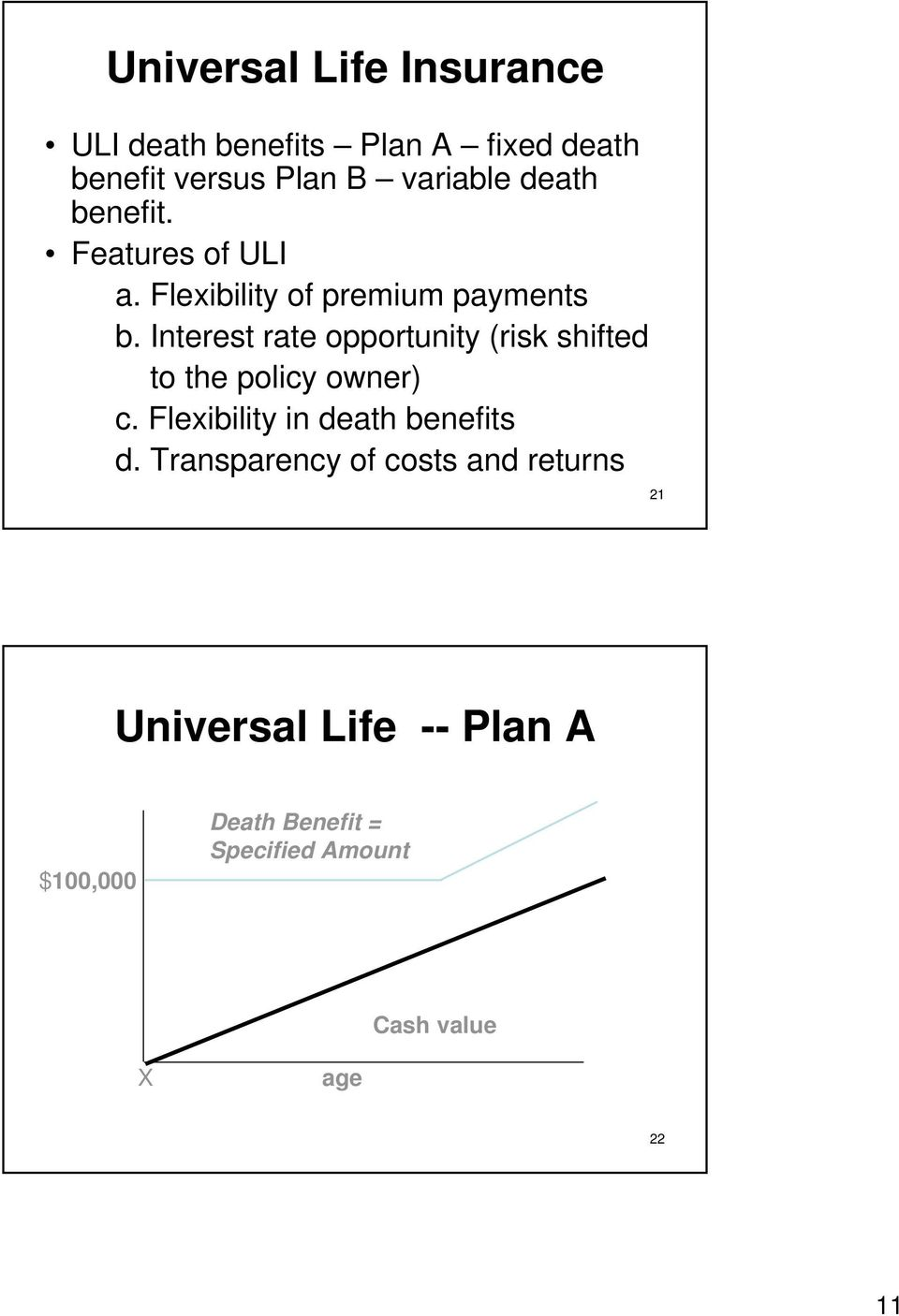 Interest rate opportunity (risk shifted to the policy owner) c. Flexibility in death benefits d.
