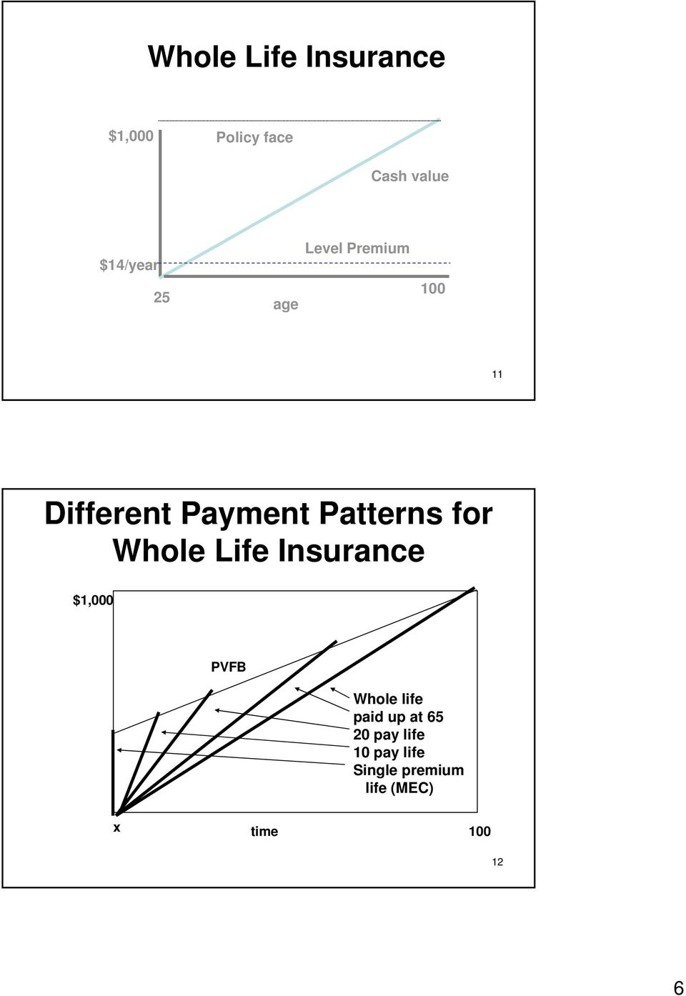 Whole Life Insurance $1,000 PVFB Whole life paid up at 65 20
