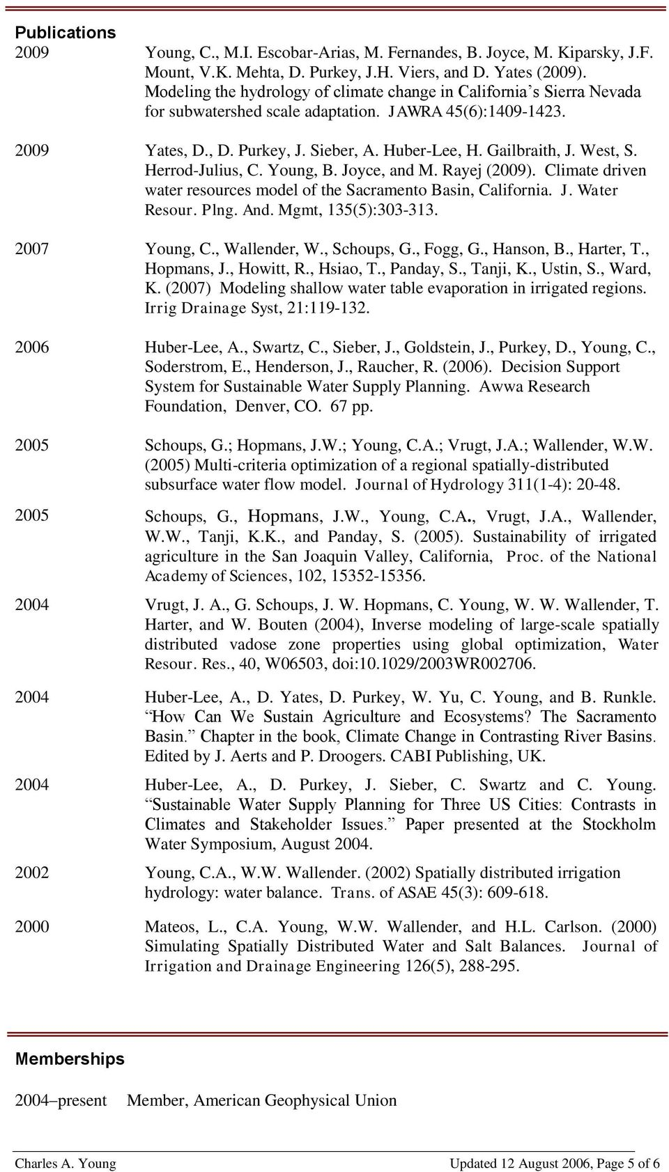 West, S. Herrod-Julius, C. Young, B. Joyce, and M. Rayej (2009). Climate driven water resources model of the Sacramento Basin, California. J. Water Resour. Plng. And. Mgmt, 135(5):303-313.