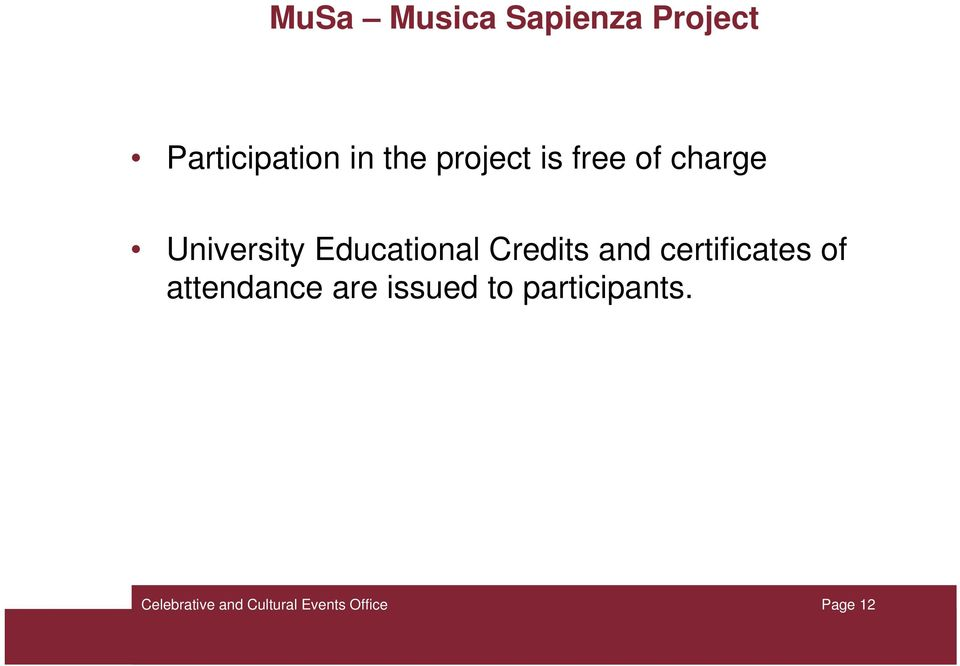 Educational Credits and certificates of