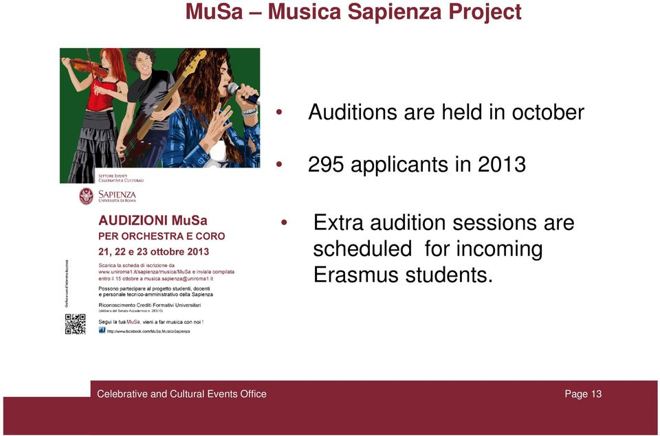 2013 Extra audition sessions are