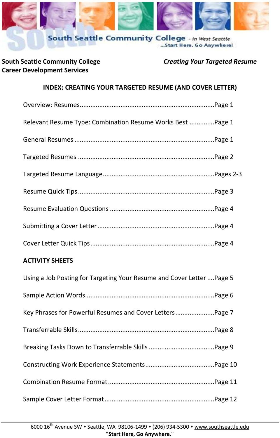 ..Page 4 ACTIVITY SHEETS Using a Job Posting for Targeting Your Resume and Cover Letter...Page 5 Sample Action Words...Page 6 Key Phrases for Powerful Resumes and Cover Letters.