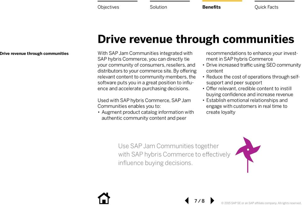 Used with SAP hybris Commerce, SAP Jam Communities enables you to: Augment product catalog information with authentic community content and peer recommendations to enhance your investment in SAP
