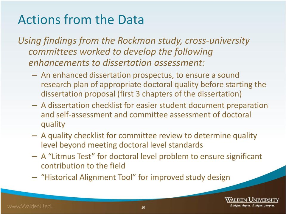 dissertation checklist for easier student document preparation and self assessment and committee assessment of doctoral quality A quality checklist for committee review to determine