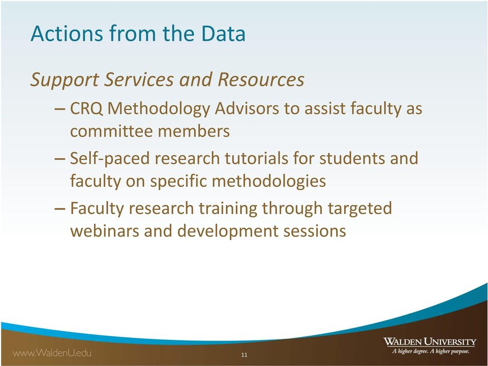 tutorials for students and faculty on specific methodologies Faculty