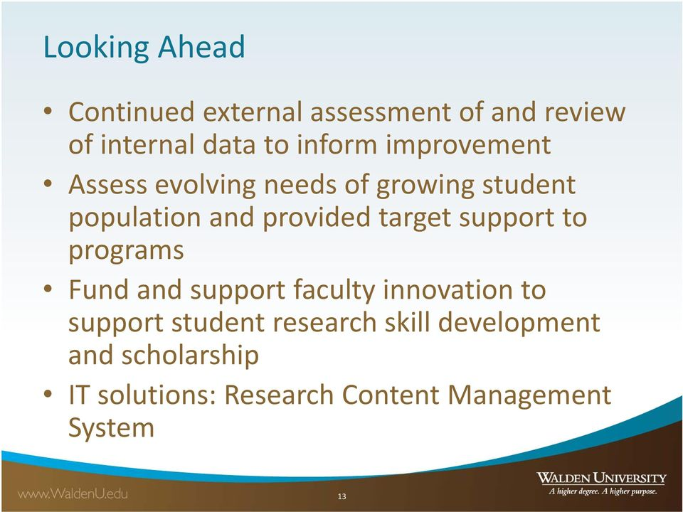 support to programs Fund and support faculty innovation to support student research