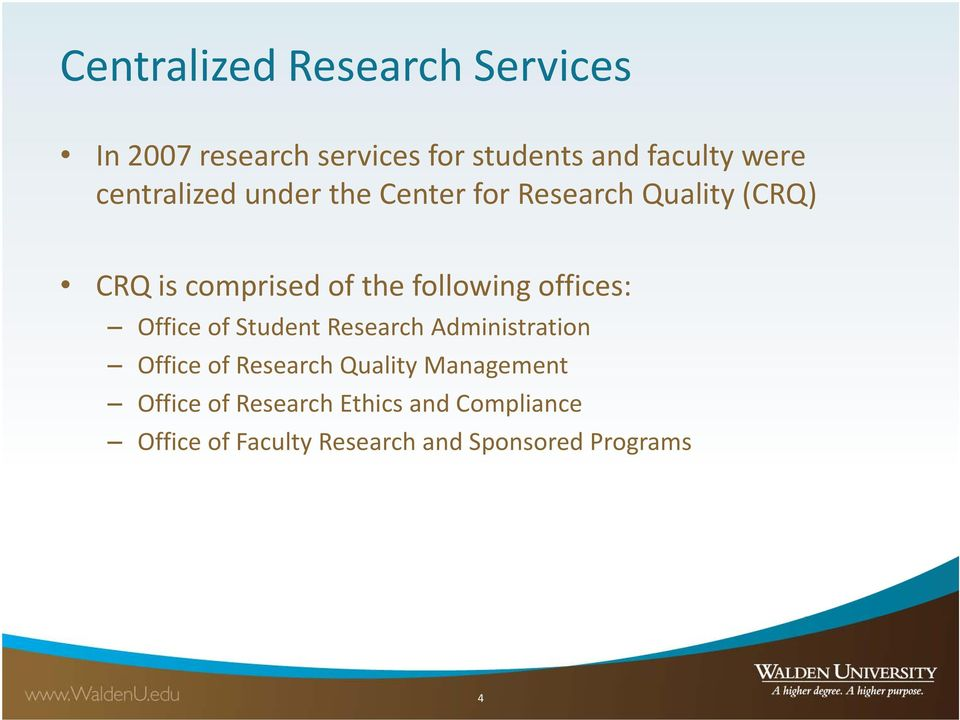 offices: Office of Student Research Administration Office of Research Quality Management