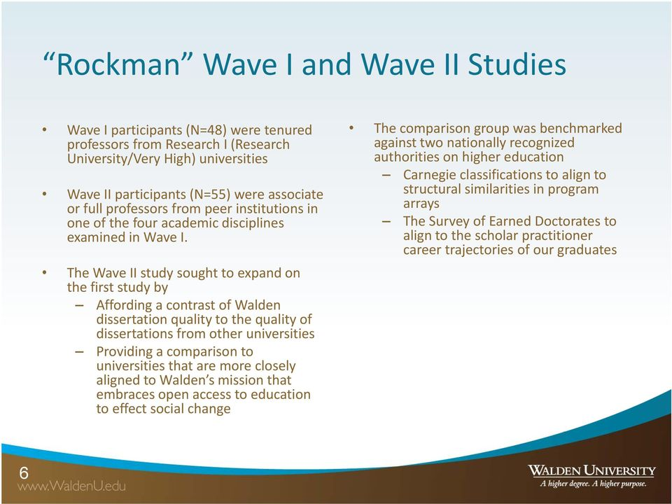 The Wave II study sought to expand on the first study by Affording a contrast of Walden dissertation quality to the quality of dissertations from other universities Providing a comparison to