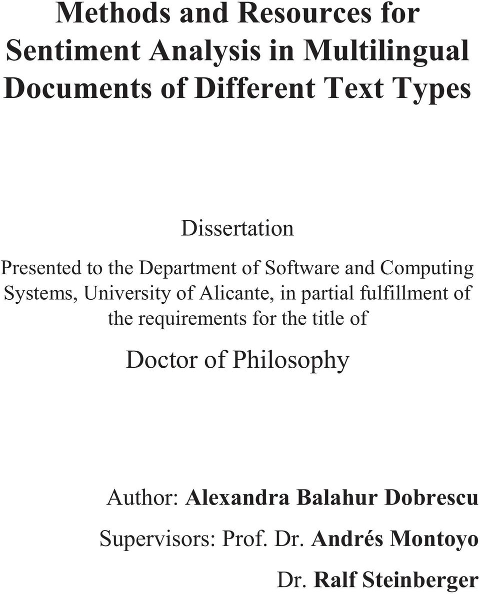 of Alicante, in partial fulfillment of the requirements for the title of Doctor of