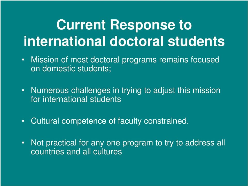 adjust this mission for international students Cultural competence of faculty