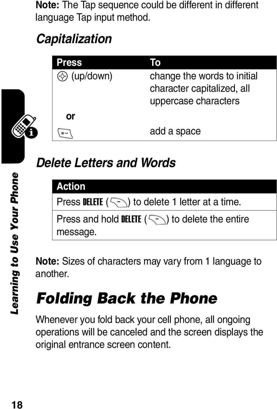 Learning to Use Your Phone Action DELETE ( ) to delete 1 letter at a time. and hold DELETE ( ) to delete the entire message.