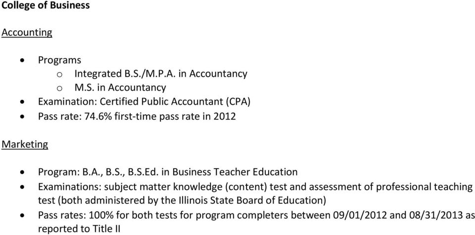 6% first time pass rate in 2012 Marketing Program: B.A., B.S., B.S.Ed.