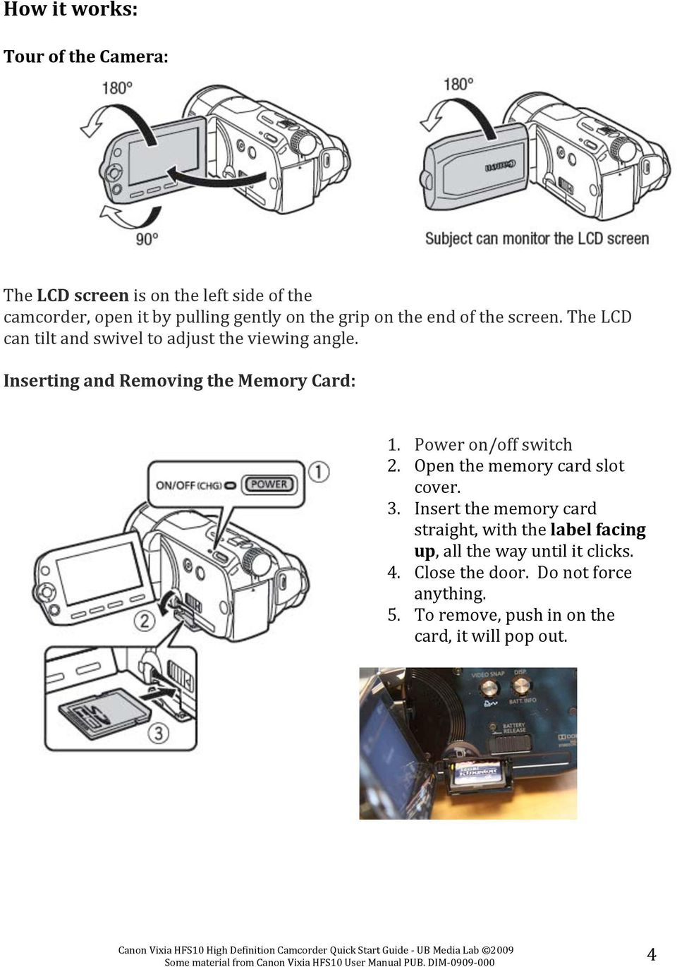 Inserting and Removing the Memory Card: 1. Power on/off switch 2. Open the memory card slot cover. 3.