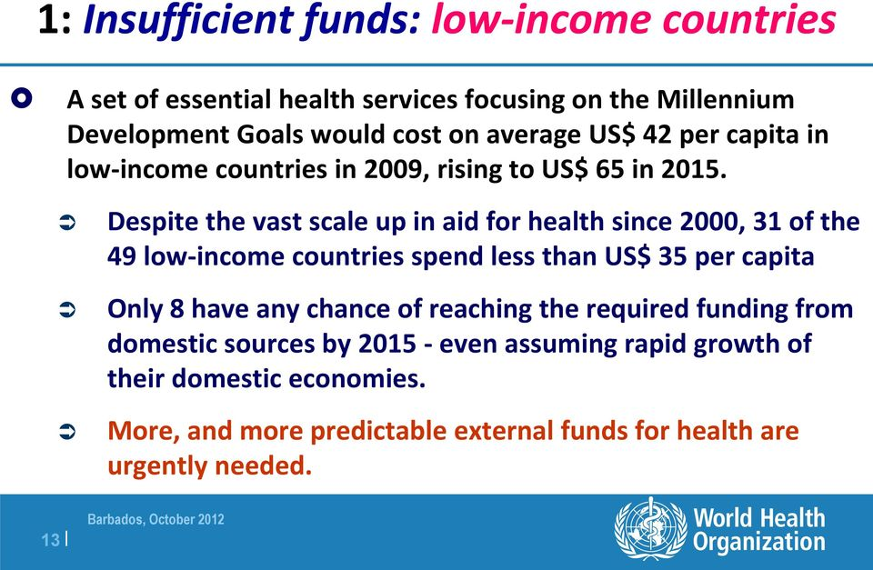Despite the vast scale up in aid for health since 2000, 31 of the 49 low-income countries spend less than US$ 35 per capita Only 8 have any