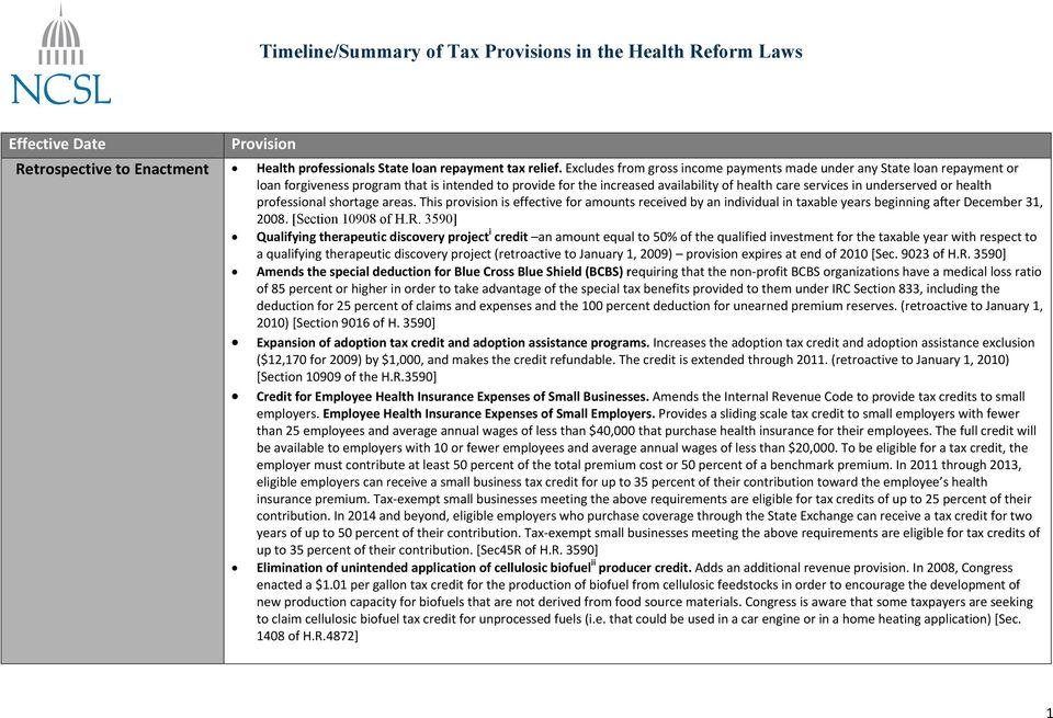 or health professional shortage areas. This provision is effective for amounts received by an individual in taxable years beginning after December 31, 2008. [Section 10908 of H.R.