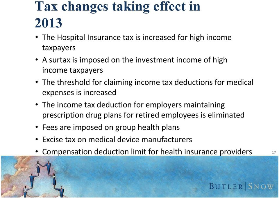 The income tax deduction for employers maintaining prescription drug plans for retired employees is eliminated Fees are