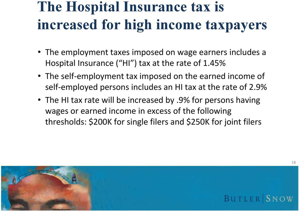 45% The self employment tax imposed on the earned income of self employed persons includes an HI tax at the rate of