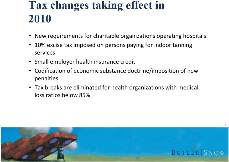 employer health insurance credit Codification of economic substance doctrine/imposition of