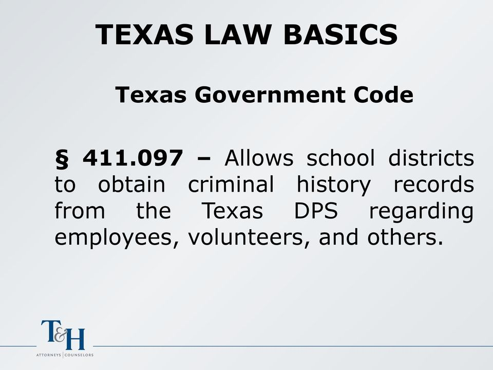 criminal history records from the Texas