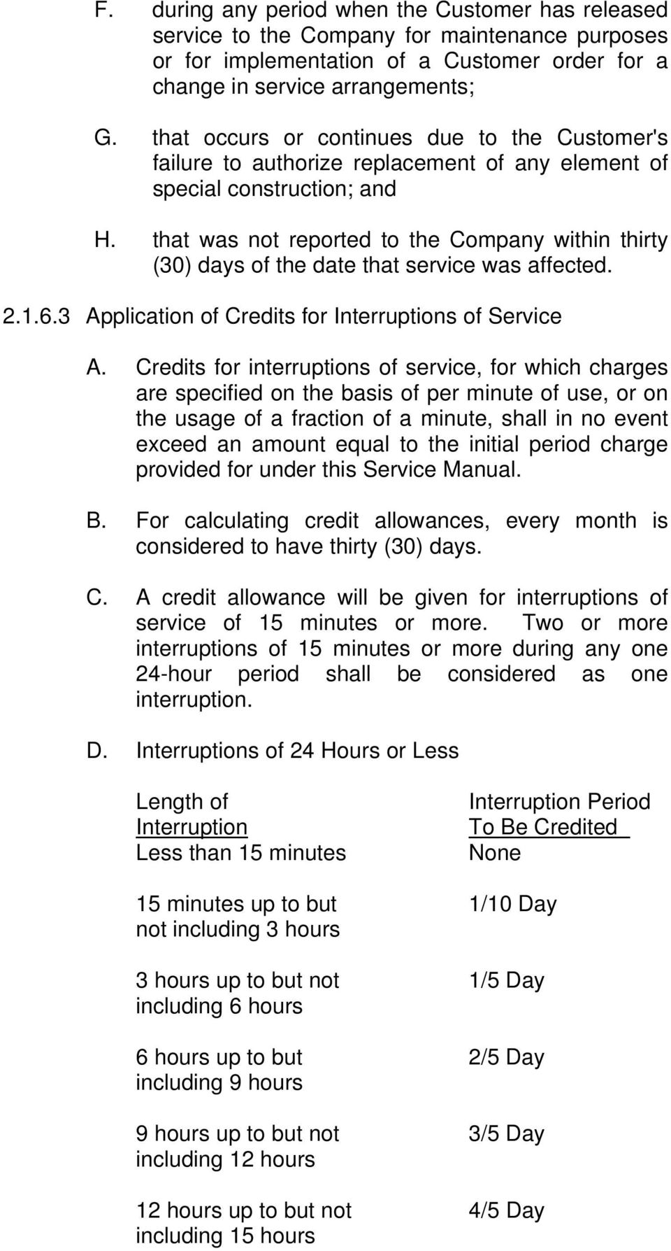 that was not reported to the Company within thirty (30) days of the date that service was affected. 2.1.6.3 Application of Credits for Interruptions of Service A.