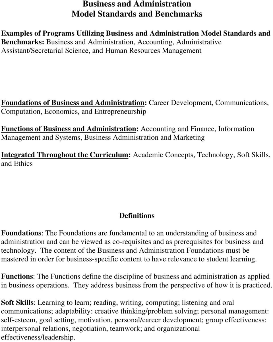Business and Administration: Accounting and Finance, Information Management and Systems, Business Administration and Marketing Integrated Throughout the Curriculum: Academic Concepts, Technology,