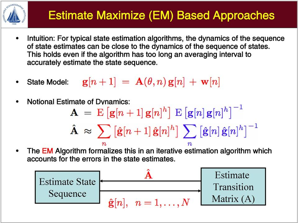 This holds even if the algorithm has too long an averaging interval to accurately estimate the state sequence.