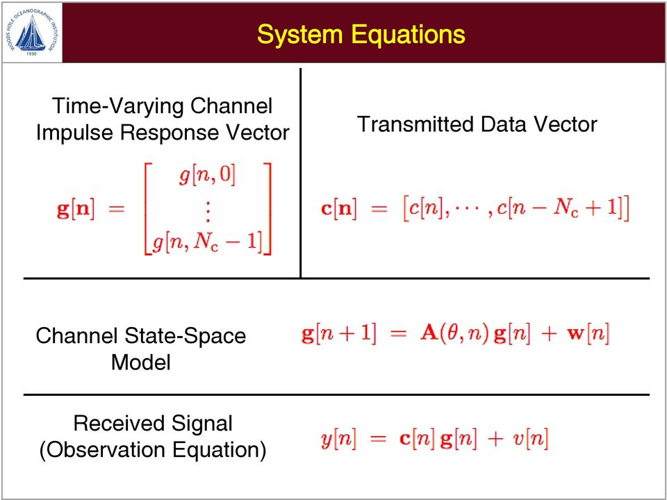 Data Vector Channel State-Space Model