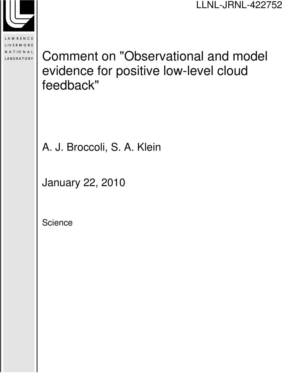 "positive low-level cloud feedback"" A."