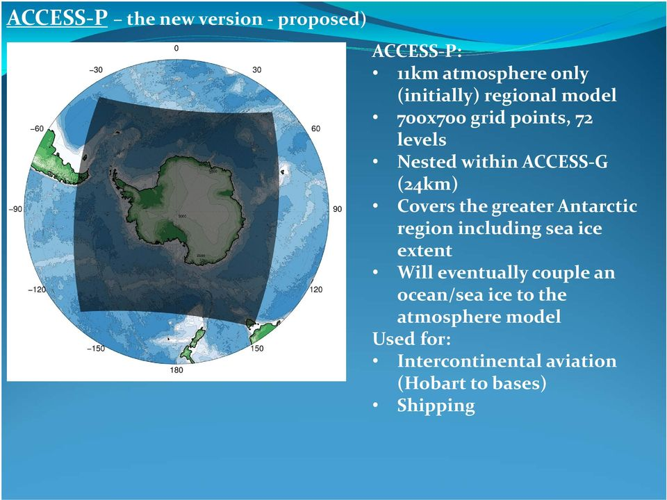 the greater Antarctic region including sea ice extent Will eventually couple an