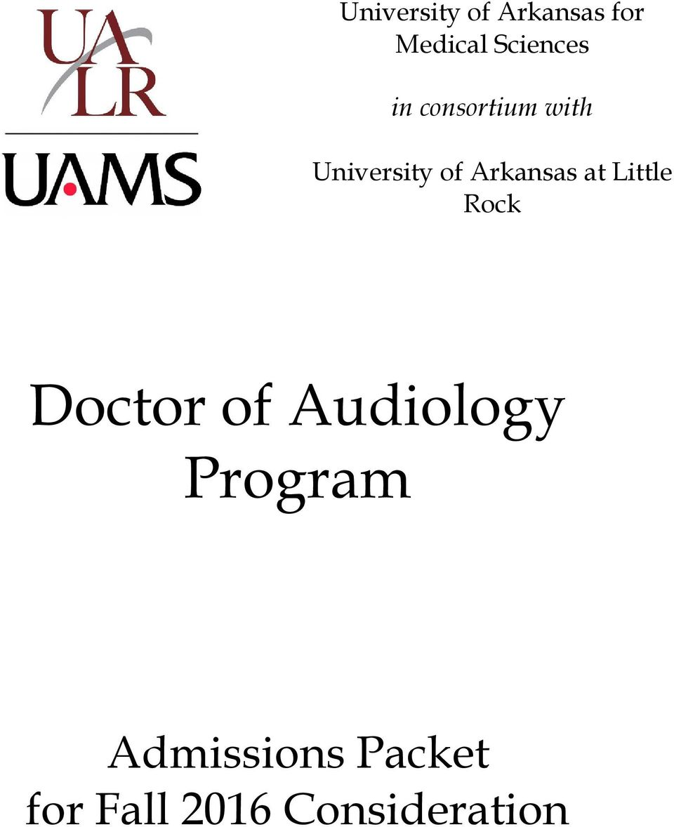 at Little Rock Doctor of Audiology Program