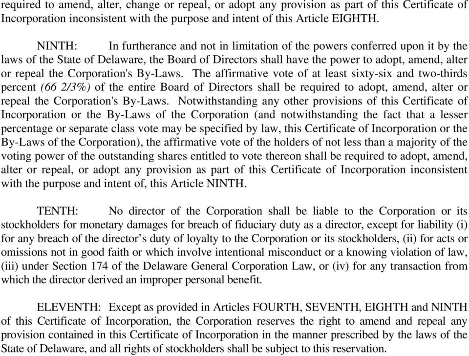 Corporation's By-Laws.