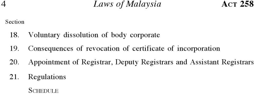 Consequences of revocation of certificate of incorporation