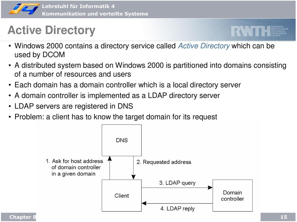 Each domain has a domain controller which is a local directory server A domain controller is implemented as a LDAP