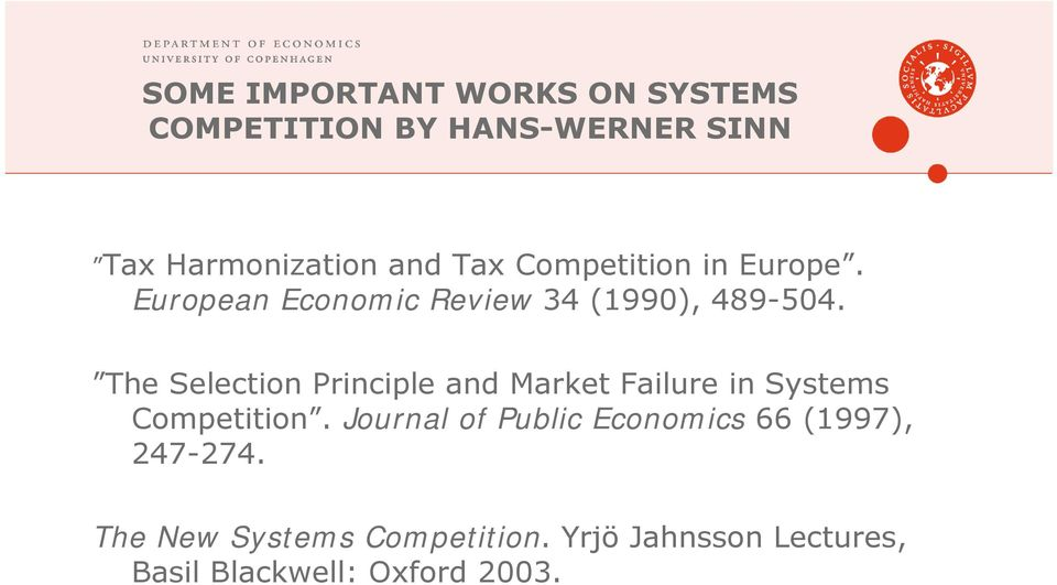 The Selection Principle and Market Failure in Systems Competition.