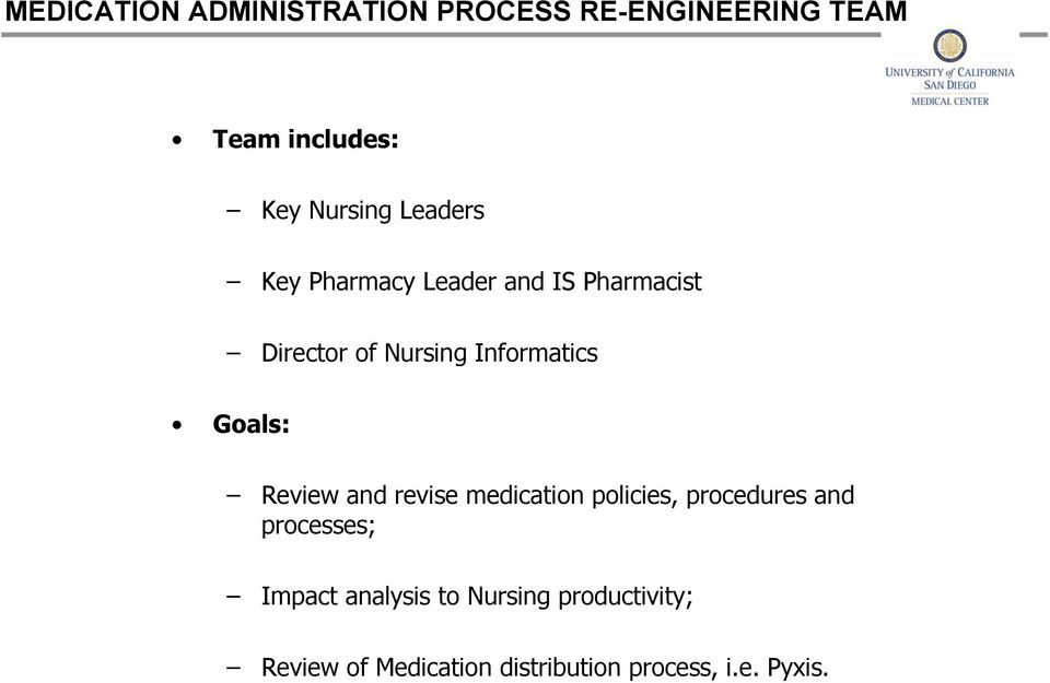 Goals: Review and revise medication policies, procedures and processes; Impact