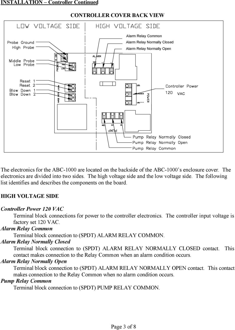 Abc 1000 Automatic Boiler Level Controller Operation And Common Terminal On Relay The Following List Identifies Describes Components Board High Voltage Side