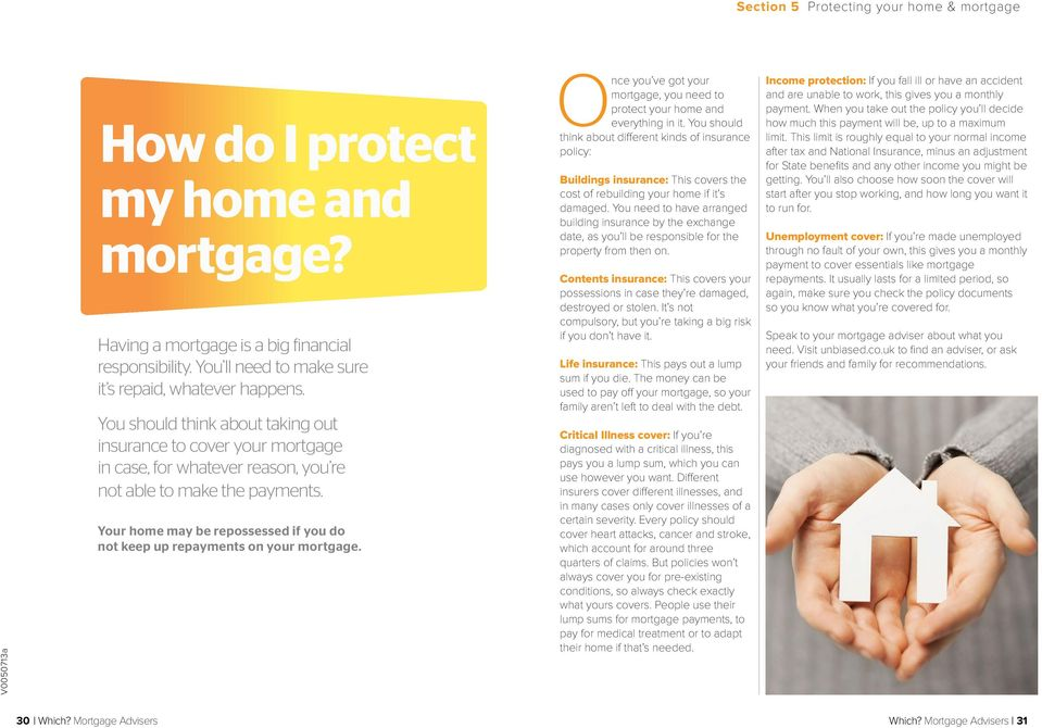 Your home may be repossessed if you do not keep up repayments on your mortgage. Once you ve got your mortgage, you need to protect your home and everything in it.
