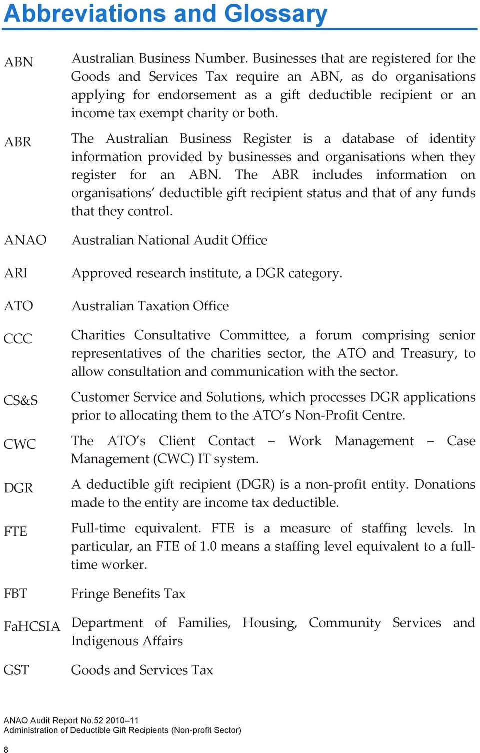 The Australian Business Register is a database of identity information provided by businesses and organisations when they register for an ABN.