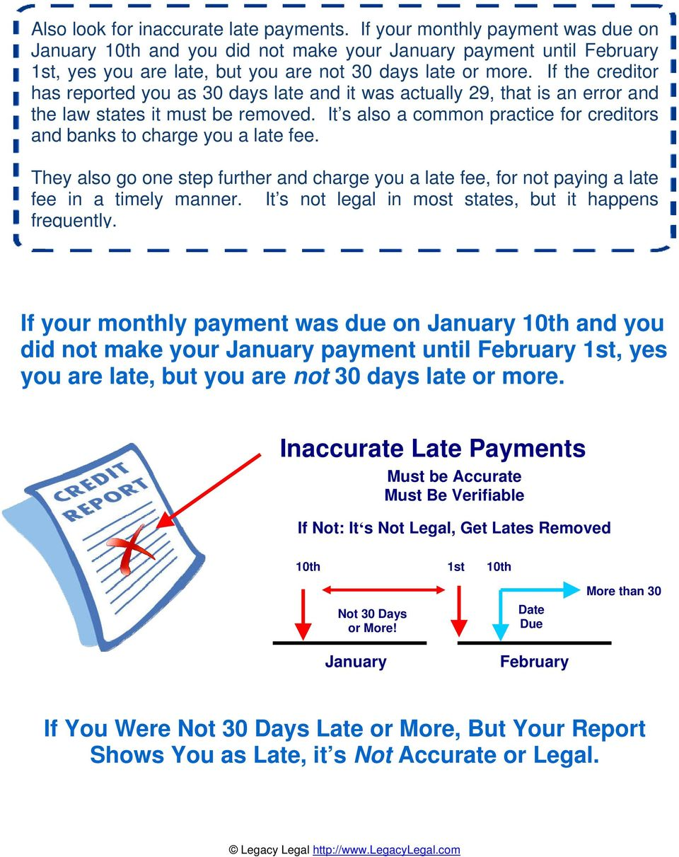 If the creditor has reported you as 30 days late and it was actually 29, that is an error and the law states it must be removed.