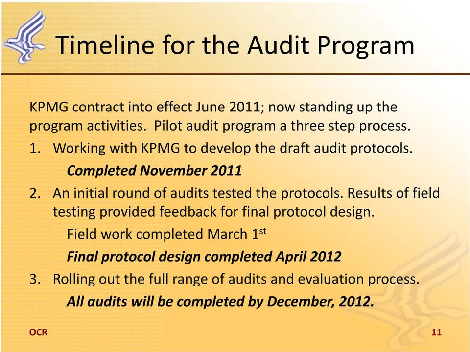 An initial round of audits tested the protocols. Results of field testing provided feedback for final protocol design.