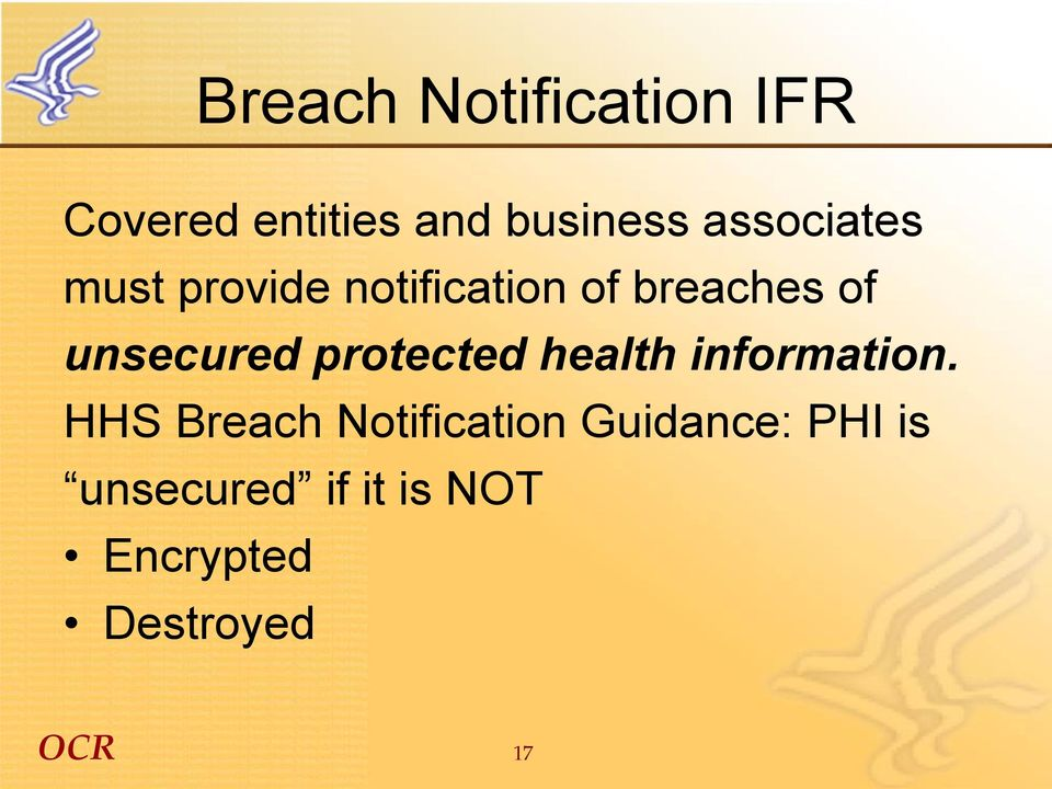 unsecured protected health information.