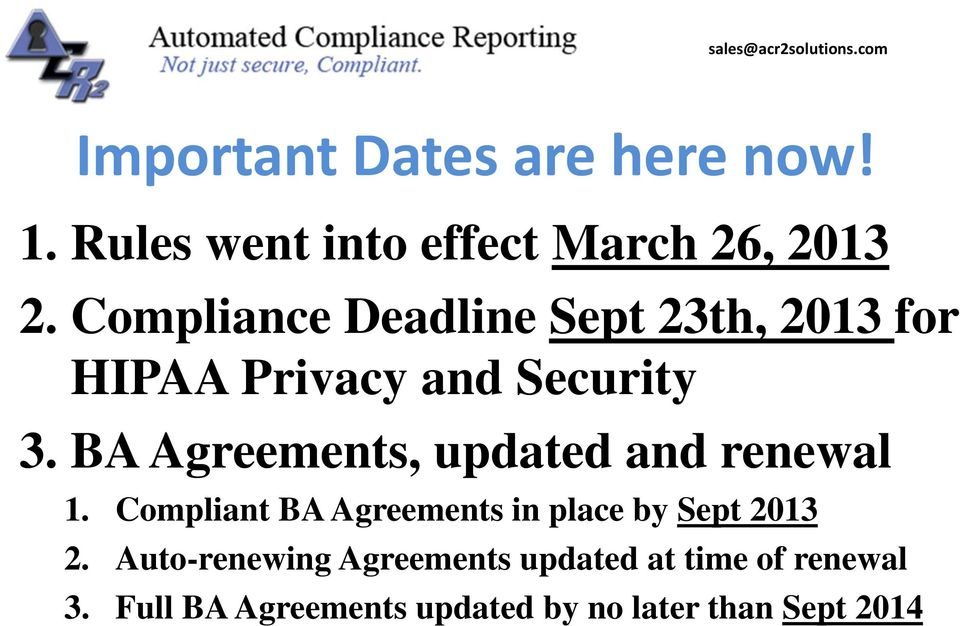 BA Agreements, updated and renewal 1.