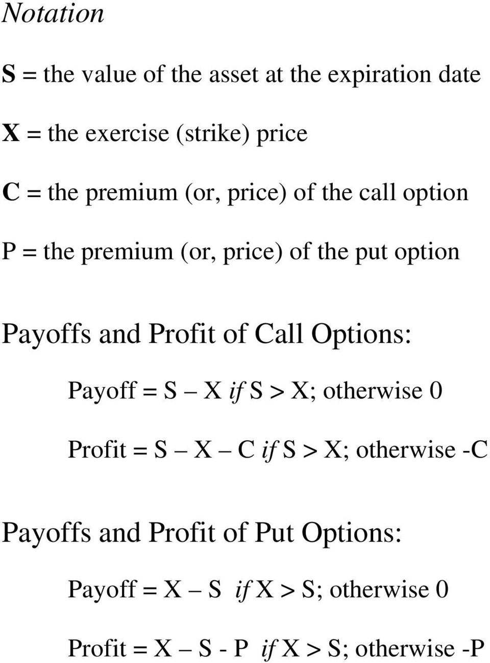 Profit of Call Options: Payoff = S X if S > X; otherwise 0 Profit = S X C if S > X; otherwise -C